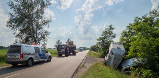 Lószállító és traktor ütközött Kecel közelében